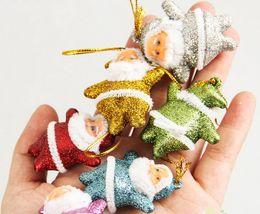 Discount linen gold - 6 Piece set Mini Santa Claus Doll With Shiny Gold Powder Xmas Ornament Christmas Tree Pendant Christmas Gift