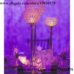 """Wholesale Crystal Candle Stand Canada - 10 pcs lot Europe Beaded Real Crystal Crystals Candle Holder -GOBLET-27"""" gold"""
