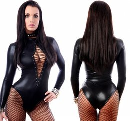 Lingerie Courte Femme Pas Cher-Cher Amant Black Leather Teddies sexy Lingerie Ladies Wet Look Bodysuit à manches longues Costume érotique Clubwear Costume Femme LC3263