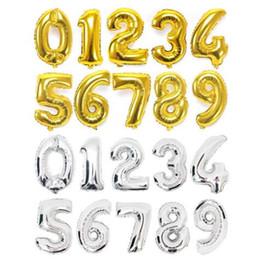 16 pulgadas Oro Plata 0-9 Número Letra Globos de aluminio Dígitos Globos Fiesta de cumpleaños Decoración de boda Suministros para fiestas de eventos en venta