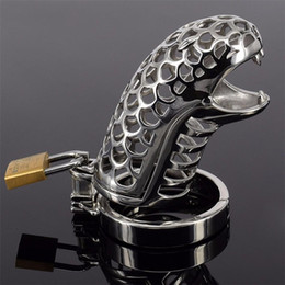 Discount novelty male chastity belt - New Design Novelty Stainless Steel Male Chastity Belt Coop Snakelike Cock Cage Dick Sleeve 5 Penis Rings Size Choosed