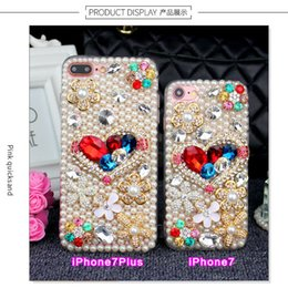 Wholesale Luxury Rhinestone Love Heart Pearl Cellphone Case For iPhone6 Plus iPhone7 Plus PU silicone in1 Case