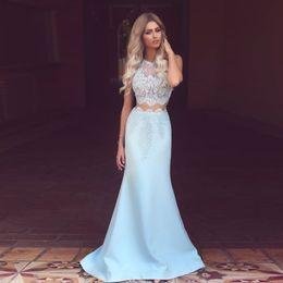 $enCountryForm.capitalKeyWord Canada - Elegant Mermaid Lace Evening Dress 2 Pieces Baby Blue Girls Party Dresses Vestidos de Festa Sleeveless Satin Long Dress 2019 New Design