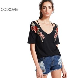 T-shirts En Gros Pour Broderie Pas Cher-Vente en gros- COLROVIE Vintage Strappy T-shirt Femme Black Rose Patch Sexy V Neck Casual Summer Tops 2017 New Fashion Slim Embroidery T-shirt