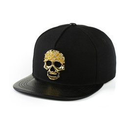 Chinese  Men Boy Skull Snapback Hip-Hop Canvas Hat Metal Chain Skeleton Baseball Cap Adjustable Flat Brim Dance Street Cool Hat manufacturers
