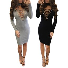 sexy famous dresses UK - Buyter(TM) New arrive famous brand full sleeve mini hot sexy body cotton ladies bandage dress