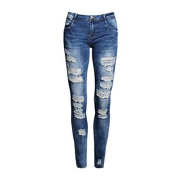 China Wholesale- Boyfriend Jeans Women Pencil Pants Trousers Ladies Casual Stretch Skinny Jeans Female Mid Waist Elastic Holes Pant Fashion 2016 supplier light pants ladies suppliers