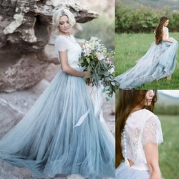 Barato Vestido Boho Azul Claro-2017 Fairy Beach Boho Lace Vestidos de casamento High-Neck A Line Soft Tulle Cap Sleeves Backless Azul Claro Saias Plus Size Bohemian Bridal Gown
