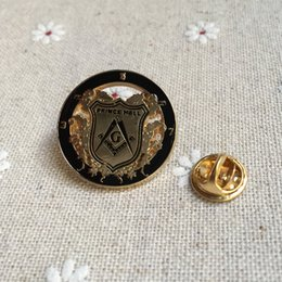 0166fb438a4b 100pcs wholesale metal craft gifts souvenir badges freemasonry PRINCE HALL logo  badge free masons masonic lapel pin and brooches