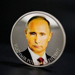$enCountryForm.capitalKeyWord Australia - 10 pcs The Putin coins president Russia hero silver Plated colored 40 mm badge Russian souvenir collectible decoration brand new free coin