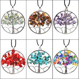 $enCountryForm.capitalKeyWord Australia - Natural Gem Stone Necklace Gravel Beads Round Tree Of Life Winding Reiki Pendulum Pendant Charms Energy Health Amulet Classic Jewelry B159S