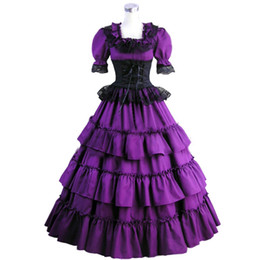 Vestidos Góticos Cosplay Baratos-Lace Lotus Folleto Poplin U Collar Plisado Summer Cosplay Prom Vestido Moda Lolita Gothic Ball Gown 2017 Real Foto