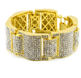 China Men Hip Hop 18K Gold Silver Plated Bracelet Simulate Dimond Full Iced out Bangles Cuban Link CZ Rhinestone Crystal Bracelets Rock Style Jewe cheap gold dimond suppliers