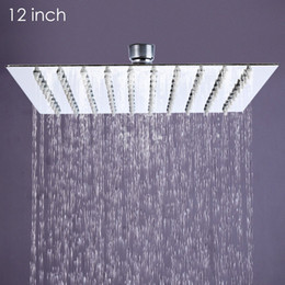 12 rain shower head online shopping - inch Ultra thin Square Stainless Steel Rainfall Head Shower Ducha Chuveiro cm cm Head Rain Shower