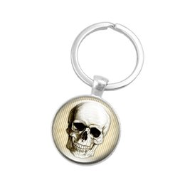 women skull rings NZ - New!10pcs Creative Key Chain Human Skull Art Glass Pendant Keychain Handmade Jewelry Accessory Silver Color Key Ring for Women Gifts