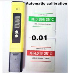 Venta al por mayor de 100pcs / lot Pluma del medidor del pH de LCD de Protable LCD de la precisión del probador 0.01 Agua de la piscina del acuario Calibración automática de la orina del vino