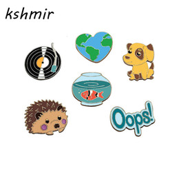 Discount drip bowl - Wholesale- The Original accessories map The phonograph record The dog goldfish bowl hedgehog animals drip pin badges A b