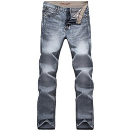 famous clothing brands for men 2019 - Wholesale- 2016 Hot Sale Gray Colour Distressed Jeans For Men Quality Jeans Designer Jean Pants Famous Brand Clothing Si