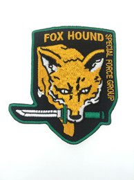 Discount metal fox gear 2017 Brand New Metal Gear FOX Hound Special Force Solid Snake Embroidery Patch Armband Military Badge 8.8cm G066 Free Sh