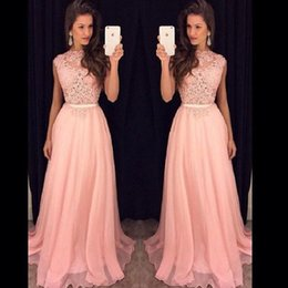 Barato Vestido Rosa China Formal-Blush Pink China Prom Dresses Long 2017 Amazing Sheer Lace formal Evening Eveningant vestidos para mulheres A-Line Party Dress