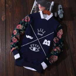 Japonés Para Hombre Baratos-Al por mayor- Nueva impresión para hombre del otoño Japanese Crown Flowers Deer Graphic Sweatshirts Manga larga Pullovers Casual Cool Hoodies masculinos Street Tops