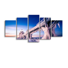$enCountryForm.capitalKeyWord Canada - 5 pieces high-definition print nature Landscape Ice Lighthous canvas oil painting poster and wall art living room picture PL5-176