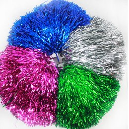 cheerleaders hand UK - Game Pompoms 40g Cheerleader Pom Poms Cheerleading Hand Flowers with Plastic Hand Stick PVC Pompoms Supplies