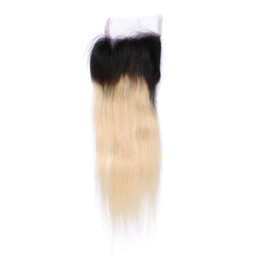 Blonde Brazilian Hair Ombre UK - 9A Grade 4*4 Lace Closure With Baby Hair Free Middle Three Part Ombre Blonde Closures Brazilian Virgin Hair Lace Front Closure 1B 613