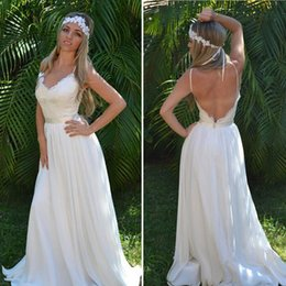 Aline Beach Wedding Dresses Pas Cher-Romantique Boho Robes de mariée V Neck Spaghetti Straps Backless Chiffon Dentelle Aline Robes de mariée Beach Robes de mariée