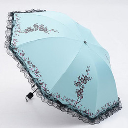 Manteaux En Dentelle Pour Femmes Pas Cher-Fashion Ladies 'Summer Folding Sun Rain Umbrella Black Coating Anti-UV Womens Lace Flower Parasol Livraison gratuite ZA3542