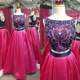 Photos De Robe De Danse Pas Cher-2 Pièces Robes De Bal 2k17 Célèbre Deisgner avec Keyhole Retour et Major Perles Top Vraies Photos Fuchsia Prom Dance Dress Custom Made