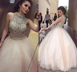 Barato Duas Peças Vestidos De Festa À Noite-2018 Beaded Beaded Two Piece Ball Gown Prom Dresses Alto Neck Sleeveless Pavimento Comprimento Formal Long Evening Celebrity Party Dress