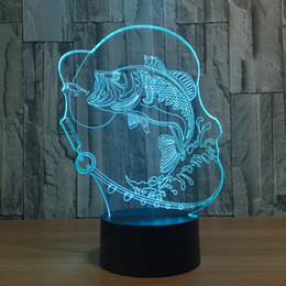 Colorful Cartoon Fish Canada - 3D Fishing Lamp Night Lamp 7 RGB Colorful Lights USB Powered with AA Battery Bin Touch Button Wholesale Dropshipping