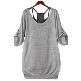 China Wholesale-COCKCON Autumn 2016 New Fashion Ladies Women Loose Cotton Long Sleeve Back Hollow T Shirt Tops Tees + Vest 2 Pcs Set cheap ladies vest t shirts suppliers