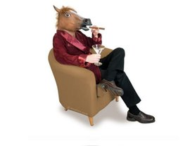 China Graduation Creepy Horse Mask Head Halloween Costume Theater Prop Novelty Hot Sales Head Latex Rubber Party Masks Free Shipping suppliers