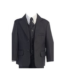 blue formal suits UK - Dark gray boys suits tuxedos pure color two button boys suits high qulity three-piece boys suits tuxedos(jacket+pants+vest+tie)