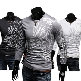 totem animals 2019 - Wholesale- 2016 hotMen's Stylish Cotton Blend Crew Neck Tops Dragon Totem Tattoo Printed Long Sleeve T-shirt Autumn