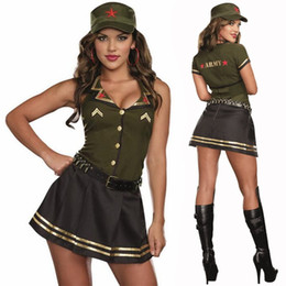 Costumes Verts Sexy Pas Cher-Femmes Sexy Army Green Soldier Uniform Costume de mascarade Halloween de haute qualité Costume militaire Cosplay Robe de fantaisie
