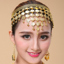 indian bollywood costumes 2019 - BELLY DANCE BOLLYWOOD COSTUME TRIBAL JEWELRY GOLD SILVER HEADBAND HEADPIECE PROP Belly Dance Cions Headdress New free sh