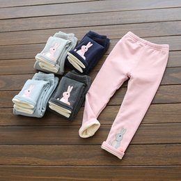 Leggings Aux Imprimés Gris Pas Cher-Hiver Enfants Girs Robbit Imprimer Leggings Pantalons Filles Vêtements Pantalons Collants Leggings Toddler Capris Coton Marque Pink Grey Pantalons
