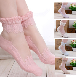 Pink Over Knee Socks Canada - Fashion Women Lace Ruffle Frilly Ankle Socks Hollow Pink Lovely Cute Silk Socks Vintage Retro Froral Lady White Princess socks