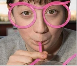 Flexible sunglasses online shopping - Beard Sunglasses Drinking Straw Funny Kids Colorful Soft Plastic Straw Unique Flexible Drinking Sunglasses Tube Kids Party Gift