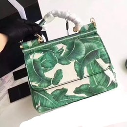 Color Leather Bags Australia - 2017 D New style Floral Women leather Handbag Sicily green leaves Color printing single shoulder Tote messenger bag Top layer Cowhide 25cm