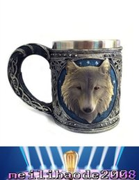 $enCountryForm.capitalKeyWord Canada - 2017 NEW 3D Horror Wolf Head Drinking Mug Resin Stainless Steel Liner Beer Cup Home Office Coffee Cup Crazy Christmas Gift MYY