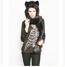 Scarf Gift Set Canada - Women Girl Lady Designer Cute Animal Fur Hat Hood Scarf Glove Set Winter Cap with Animal Ears Hat Halloween Christmas Gift