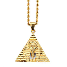 jewelry personalized necklaces Canada - Fashion Personalized Design Men Hip Hop Jewelry Charm Pyramid King Pendant Necklaces Luxury Stainless Steel 18K Gold Plated Chains