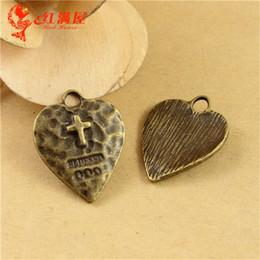 Antique Crucifix Pendant NZ - 24*19MM Antique Bronze cross heart charms for bracelet, diy vintage dangle metal heart-shaped crucifix pendants for necklace, jewelry making