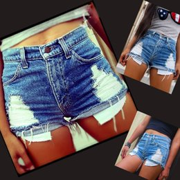Denim Pantalons Pantalons Chauds En Gros Pas Cher-Vente en gros- Ladies Vintage Ripped Womens High Waisted Stonewash Denim Shorts Jeans Hot Pants