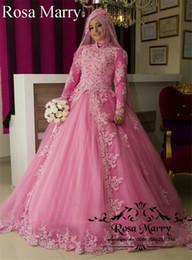 Опт Розовый Исламский Хиджаб Бальное платье Свадебные платья 2020 с высоким воротом и длинными рукавами Урожай кружева Overskirt Плюс Размер Кафтан Abayas Африканские свадебные платья