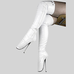 knee boots sex Canada - 18CM High Height Sex boots Women's Heels Round Top Stiletto Heel SM shoes Over-the-Knee Boots Heels No.039